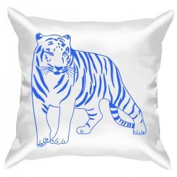 """Подушка с принтом """"Синий векторный тигр"""""""