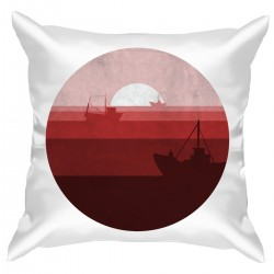 "Подушка с принтом ""Корабли на закате"""
