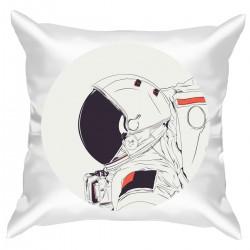 """Подушка с принтом """"Космонавт в круге"""""""