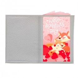 """Обложка на паспорт с принтом """"Влюбленные лисички"""""""