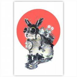 """Холст с принтом """"Кролик путешественник во времени"""" (20x30cм)"""
