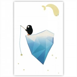 """Холст с принтом """"Пингвин на айсберге"""" (20x30cм)"""