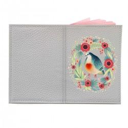 """Обложка на паспорт с принтом """"Голубь и цветы"""""""
