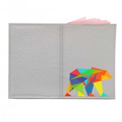 """Обложка на паспорт с принтом """"Цветной медведь"""""""