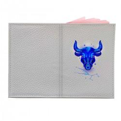 """Обложка на паспорт с принтом """"Телец в синем"""""""