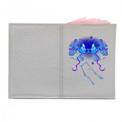 """Обложка на паспорт с принтом """"Близнецы в синем"""""""