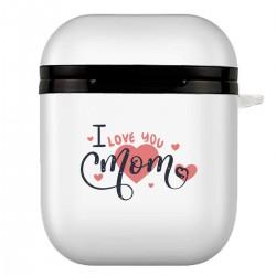"""Чехол для AirPods белый с принтом """"I love you mom"""""""