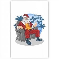 "Холст с принтом ""Крутой Санта"" (20x30cм)"
