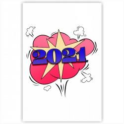 "Холст с принтом ""2021 год"" (20x30cм)"