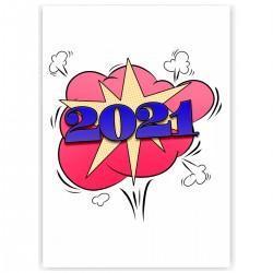 "Холст с принтом ""2021 год"" (30x40 cм)"
