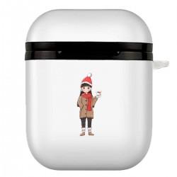 """Чехол для AirPods белый с принтом """"Hi, Christmas"""""""