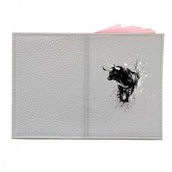 """Обложка на паспорт с принтом """"Черно-белый бык"""""""