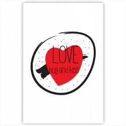 """Холст с принтом """"Love, hug and kiss"""" (20x30cм)"""