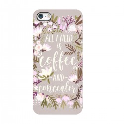 "Чехол для Apple iPhone с принтом ""All i need - is coffee and concealer"""