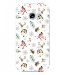 """Чехол для Samsung с принтом """"Паттерн с оленями, снегирями и еловыми ветками"""""""