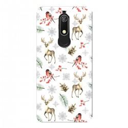 """Чехол для Nokia с принтом """"Паттерн с оленями, снегирями и еловыми ветками"""""""