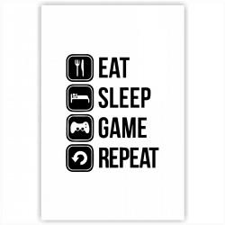 "Холст с принтом ""Eat, sleep, game, repeat"" (20x30cм)"