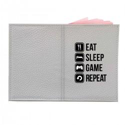 "Обложка на паспорт с принтом ""Eat, sleep, game, repeat"""