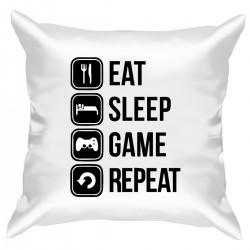 """Подушка с принтом """"Eat, sleep, game, repeat"""""""