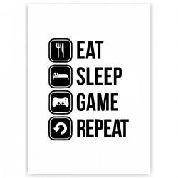 "Холст с принтом ""Eat, sleep, game, repeat"" (30x40 cм)"