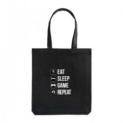 """Сумка холщовая с принтом """"Eat-sleep-game-repeat"""""""