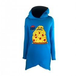 """Удлиненное худи голубое с принтом """"Pizza the Hutt"""""""