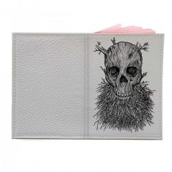 """Обложка на паспорт с принтом """"Древесный череп с бородой"""""""