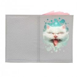 """Обложка на паспорт с принтом """"Белый кот"""""""