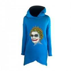 """Удлиненное худи голубое с принтом """"Ее Величество Джокер"""""""