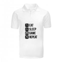 """Поло с принтом """"Eat, sleep, game, repeat"""""""