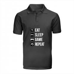 """Поло с принтом """"Eat-sleep-game-repeat"""""""