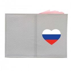 "Обложка на паспорт с принтом ""Сердце-триколор"""