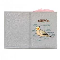 """Обложка на паспорт с принтом """"Anatomy of a cockatiel"""""""