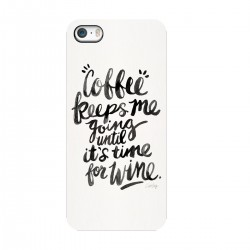 "Чехол для Apple iPhone с принтом ""Coffee keeps me going until its time for wine"""
