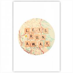 "Холст с принтом ""Lets run away"" (20x30cм)"
