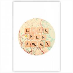 "Холст с принтом ""Lets run away"" (30x40 cм)"