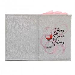 """Обложка на паспорт с принтом """"Happy Drunk Holiday - black"""""""
