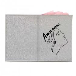 "Обложка на паспорт с принтом ""Awoooman - black"""